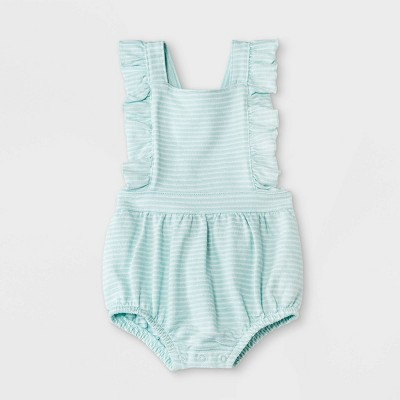 Baby Girls' Texture Knit Ruffle Romper - Cat & Jack™ Green