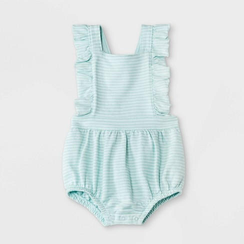 Baby Girls' Texture Knit Ruffle Romper - Cat & Jack™ Green - image 1 of 2