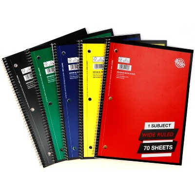 1 Subject Wide Ruled Solid Spiral Notebook (Colors May Vary) - Norcom