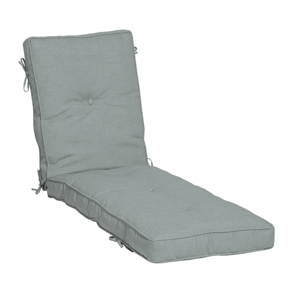 Leala Plush Blowfill Patio Chaise Lounge Chair Cushion Stone Gray Arden Selections