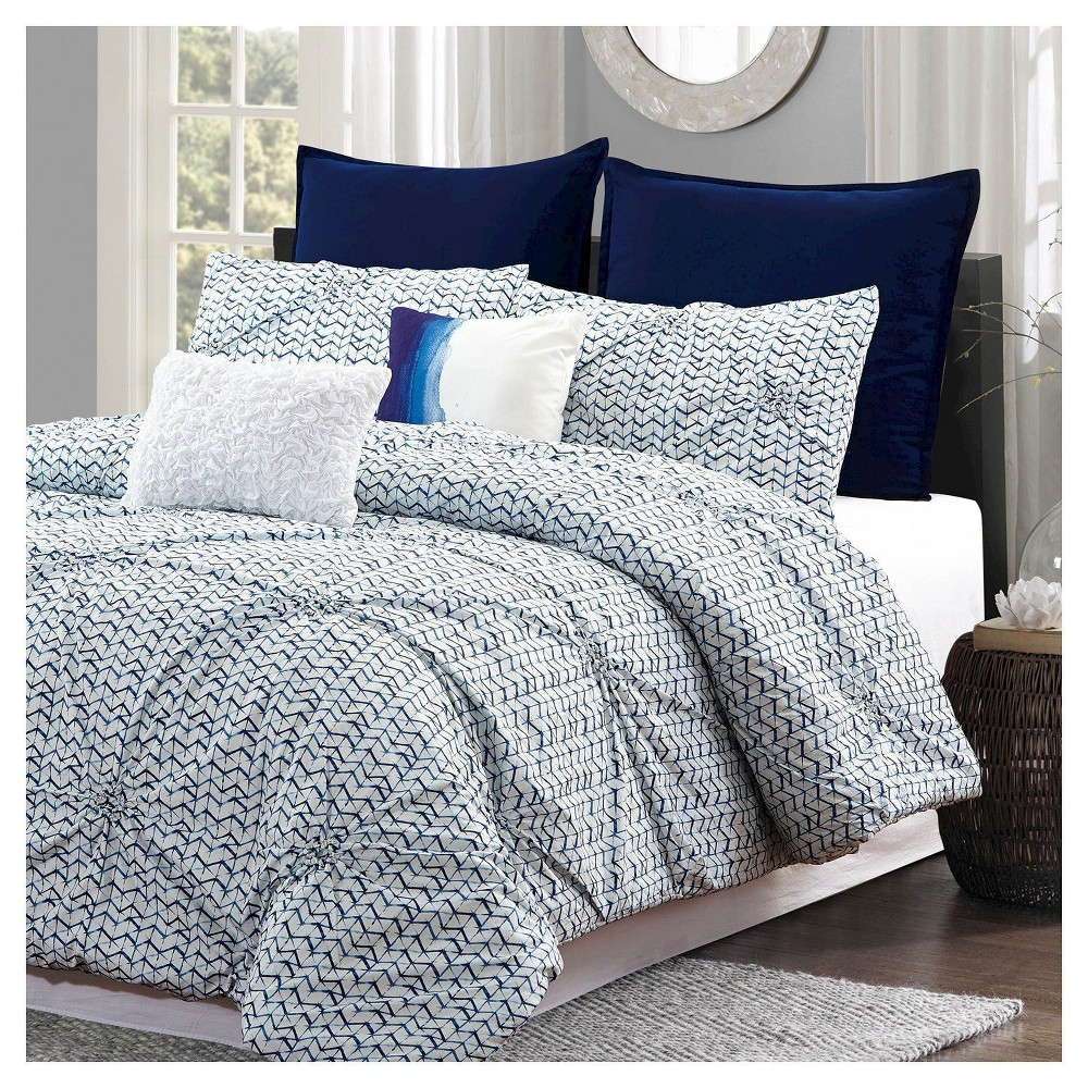 Blue Batik Pintuck Geometric Comforter Set (King) 7 Piece - Style Quarters, White Blue