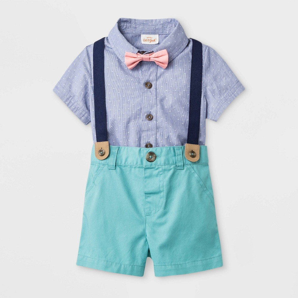 Baby Boys' Short Sleeve Woven Bodysuit with Bowtie and Shorts - Cat & Jack Blue/Green 12M