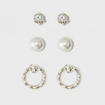 Pearl, Stone, and Circle Earring Set - A New Day™ Silver