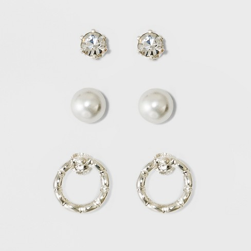 Pearl Stone And Circle Earring Set A New Day Silver