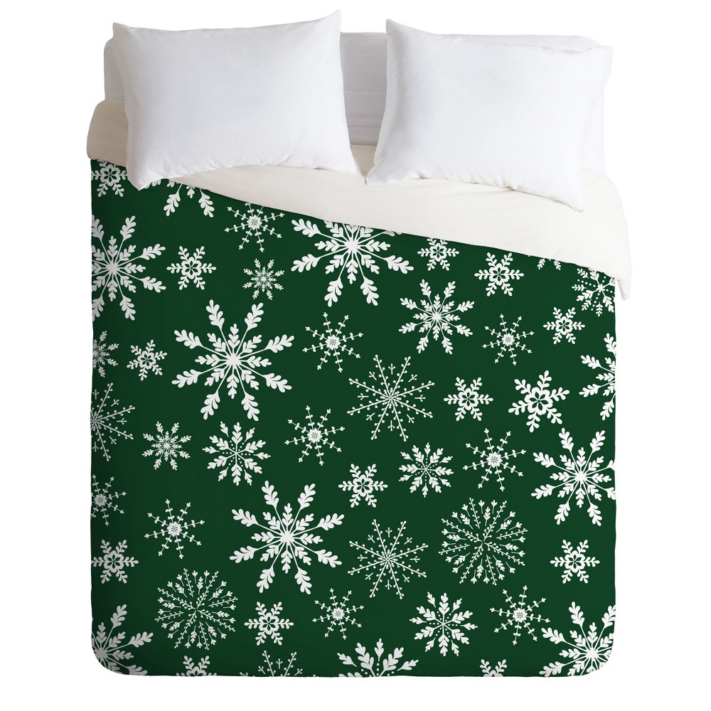 King Iveta Abolina Silent Night Duvet Cover Set Green - Deny Designs