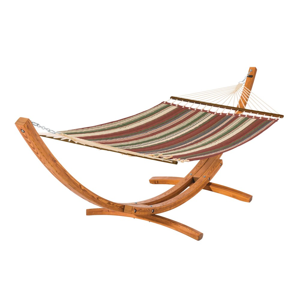 Fadesafe Quilted Hammock with Wood Stand - Heather Henna Red Multi Stripe - Classic Accessories Montlake