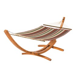 Fadesafe Quilted Hammock with Wood Stand - Beige Multi Stripe - Classic Accessories Montlake