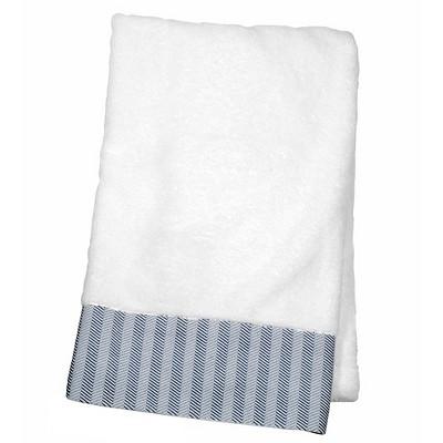 Decorative Luxury Bath Towel Blue Woven Border - Fieldcrest™