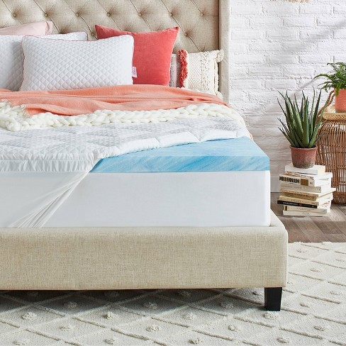 "3"" Plush Pillowtop Gel Memory Foam Mattress Topper with Cool Touch Antimicrobial Cover - nüe by Novaform - image 1 of 4"