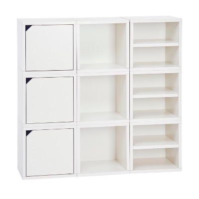 Way Basics 9 Cubby Connect Cube System Modular Storage Bookcase - Natural White - Lifetime Guarantee