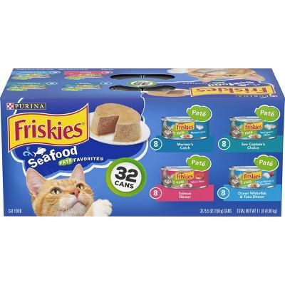 Purina Friskies Paté Wet Cat Food Seafood Favorites - 5.5oz/32ct Variety Pack