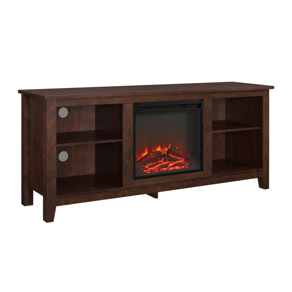 58 Wood Fireplace Media TV Stand Console - Traditional Brown - Saracina Home
