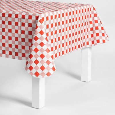 84 x60  Gingham PEVA Tablecloth Red/White - Sun Squad™