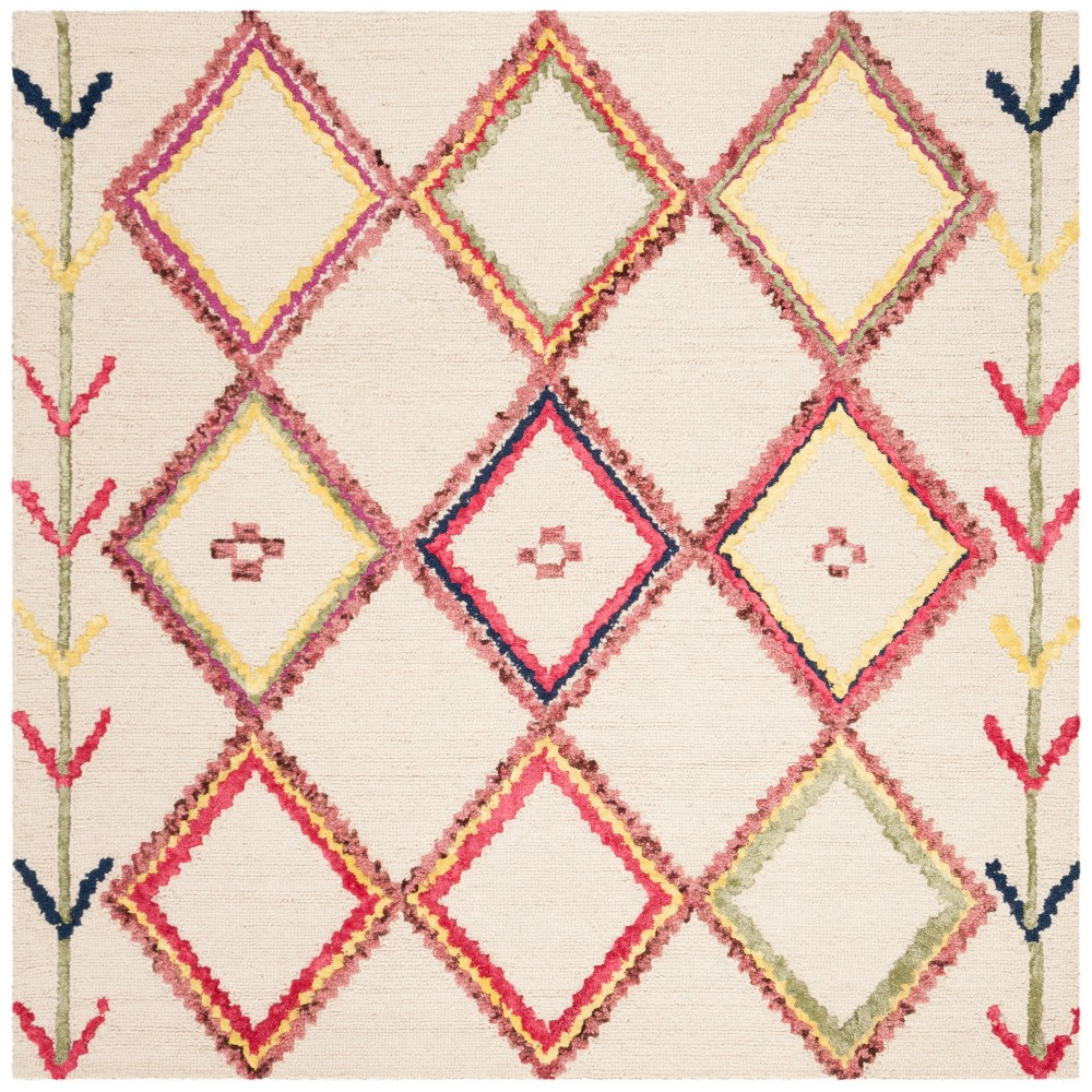 5'X5' Geometric Tufted Square Area Rug Ivory - Safavieh, Ivory/Multi-Colored