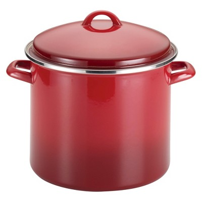 Rachael Ray Porcelain Enamel 12 Quart Covered Stock Pot - Red Gradient