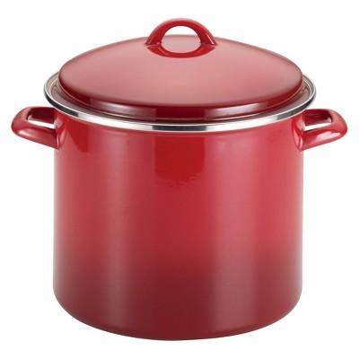 Rachael Ray 12qt Porcelain Enamel Covered Stock Pot Red