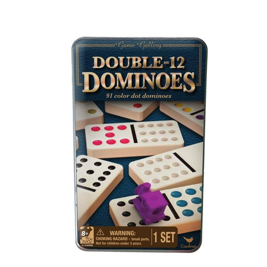 Cardinal Game Gallery Double 12 Color Dot Dominoes, Adult Unisex image number null