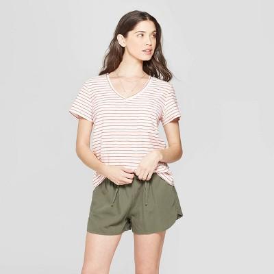 2533e34d51 Women's Striped Relaxed Fit Short Sleeve V-Neck Monterey Pocket T ...