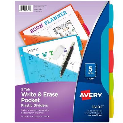 Avery 5ct Write & Erase Pocket Tab Plastic Divider Set