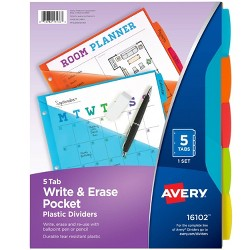 5ct Avery Write & Erase Pocket Tab Plastic Divider Set