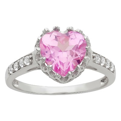 1 3/4 TCW Tiara Heart-cut Pink Sapphire Crown Ring in Sterling Silver - (6)