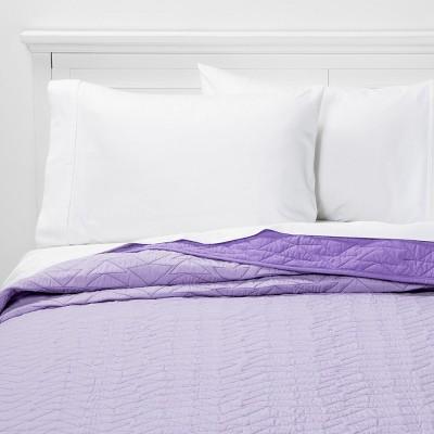Twin Triangle Stitch Microfiber Quilt Light Purple - Pillowfort™