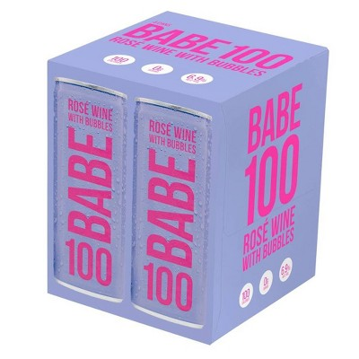BABE 100 Rosé with Bubbles Wine - 4pk/250ml Cans