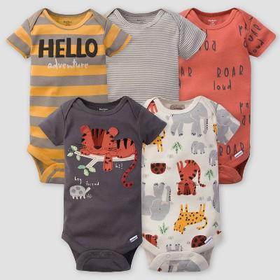 Gerber Baby Boys' 5pk Safari Short Sleeve Onesies - Orange/Gray Newborn