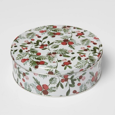 Holiday Tin Holly Print Gift Box - Threshold™