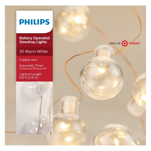 philips 30ct christmas led dewdrop lights clear globes battery operated warm white cw 96 target
