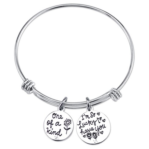 Women S Stainless Steel Two Tone One Of A Kind I M So Lucky To Have You Elephant Expandable Bracelet Silver Gold 8 Target