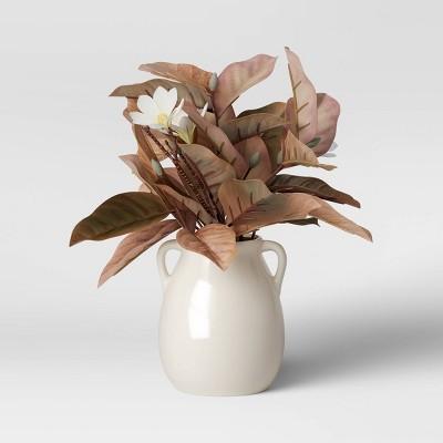"""17"""" x 8"""" Artificial Magnolia Leaf Arrangement in Ceramic Pot - Threshold™"""