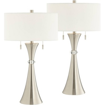 360 Lighting Art Deco Style Table Lamps Set of 2 with Table Top Dimmers Column Silver Metal White Drum Living Room House Office