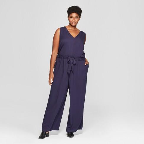 d8d5778e809 Women s Plus Size Tie Waist Jumpsuit - Ava   Viv™ Navy 1X   Target