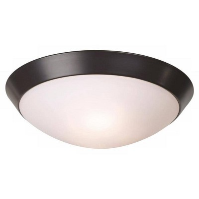 """360 Lighting Modern Ceiling Light Flush Mount Fixture Oil Rubbed Bronze 13"""" Wide Frosted Glass Dome Bedroom Kitchen Living Room"""