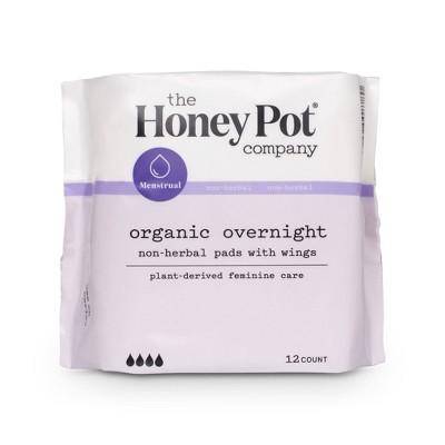 The Honey Pot Organic Cotton Non-Herbal Overnight Pads - 12ct