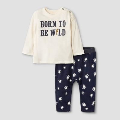 Grayson Mini Baby Boys' 'Born To Be Wild' Top & Bottom Set - Off-White