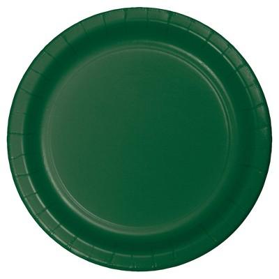 "Hunter Green 9"" Paper Plates - 24ct"