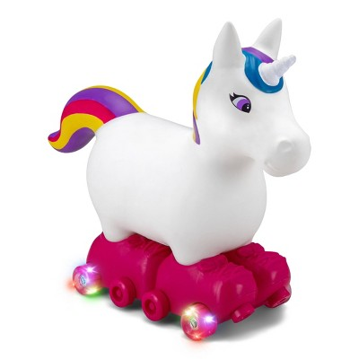 Kid Trax Silly Skaters Unicorn Inflatable Ride-On - White/Pink