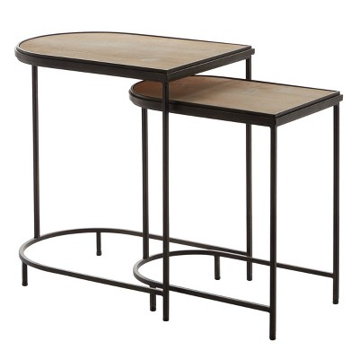 Set of 2 Industrial Metal Accent Tables Red - Olivia & May