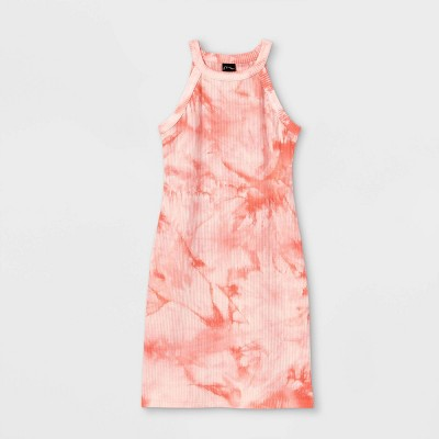 Girls' High Neck Rib-Knit Sleeveless Dress - art class™