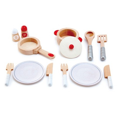 Hape E3150 Cook & Serve Kids Wooden Pretend Kitchen Play Food Plates & Utensils Set with Plates, Forks, Knives, Spoon, Spatula, Pot, Pan, & Shakers