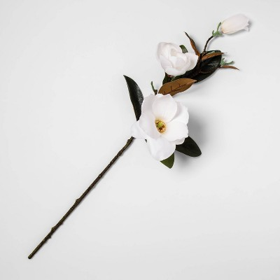"28"" Artificial Magnolia Stem Green/White - Threshold™"
