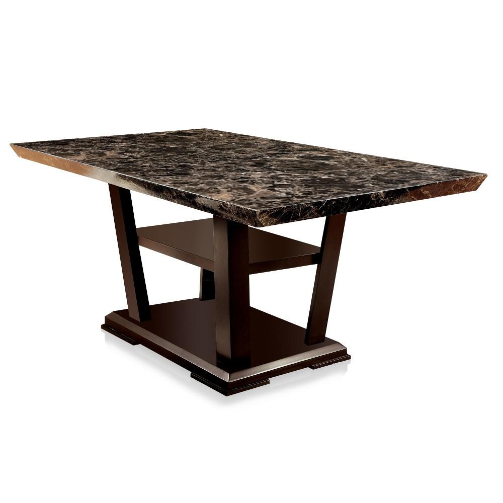 Harrington Faux Marble Table Top w/Open Bottom Shelf Dining Table Dark Cherry - ioHOMES