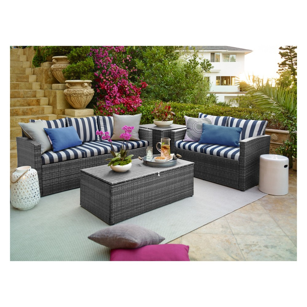 Image of 4pc Rio All-Weather Wicker Conversation set with Storage Gray/Blue Stripes - Thy Hom