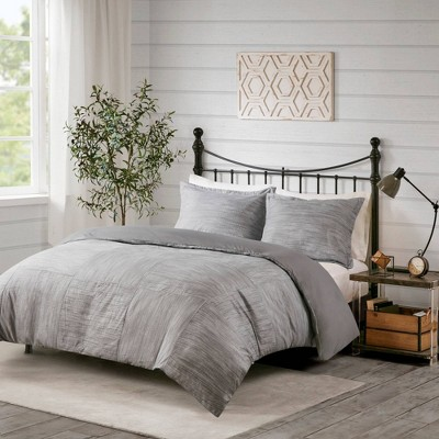 Kelan Full/Queen 3pc Printed Seersucker Duvet Cover Set Gray