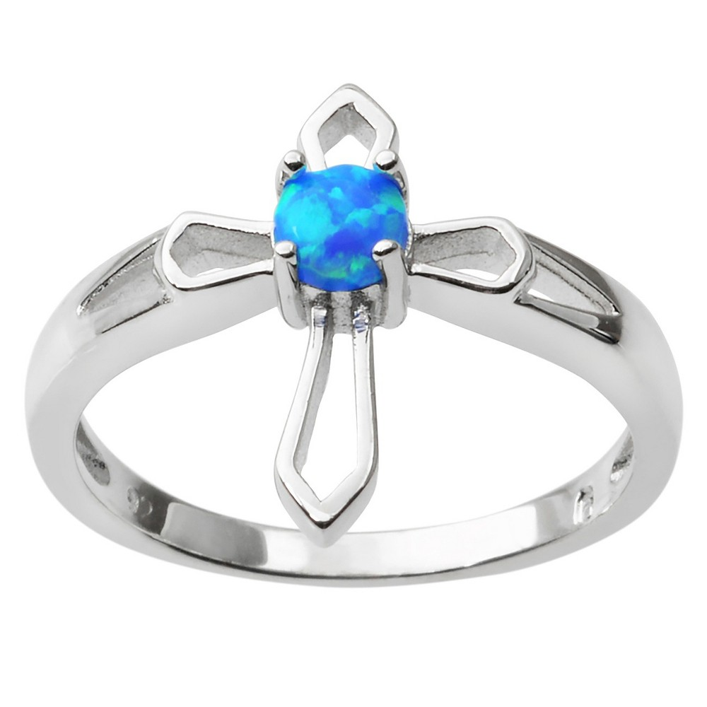 1/10 CT. T.W. Round-cut Simulated Opal Cross Prong-set Ring in Sterling Silver- Silver, 5, Girl's, Blue