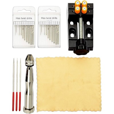 Bright Creations 27 Pieces Mini Pin Vise Hand Drill Bits Kit with Bag for DIY Jewelry,  Arts and Crafts