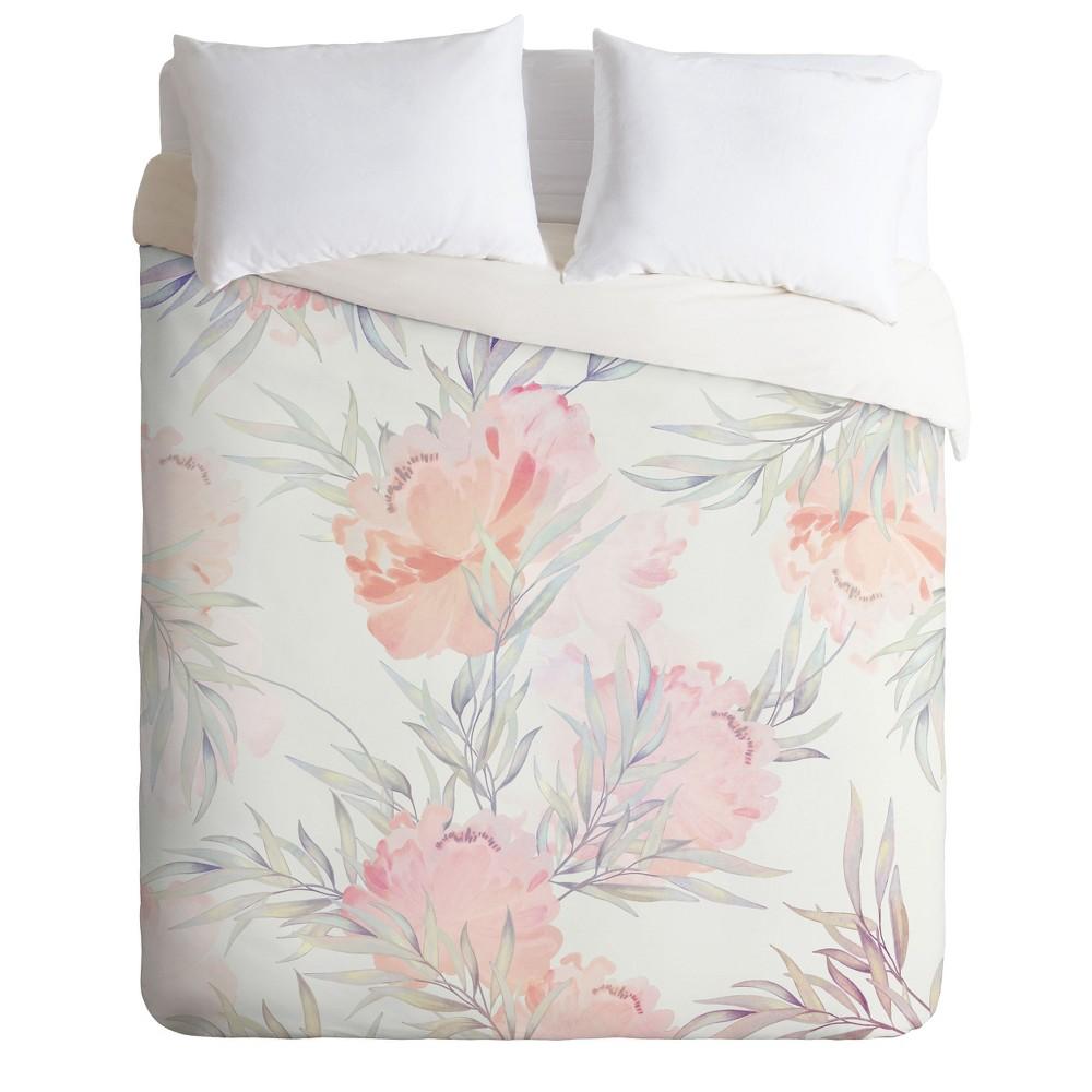 Full/Queen Iveta Abolina Cecille Floral Duvet Set Pink - Deny Designs