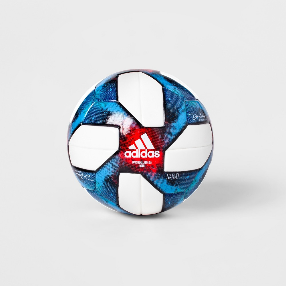 Adidas Mls Mini Soccer Ball - White/Blue Size 1 Even the tiniest players can get into playing soccer with the Mls Mini Soccer Ball from Adidas. This children's soccer ball is an exact replica of a full-size soccer ball, but size 1 to suit small players. Kiddos and adults alike will love the vibrant blue galaxy-esque print that contrasts the white patches of the ball.